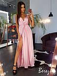 Длинное шелковое платье с верхом на запах и без рукава 66033285E, фото 3