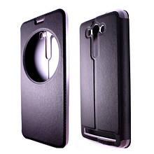 Книжка кожа + пластик матовый прозрачный с переди окошко for Asus Zenfone 2 Laser ZE550KL black