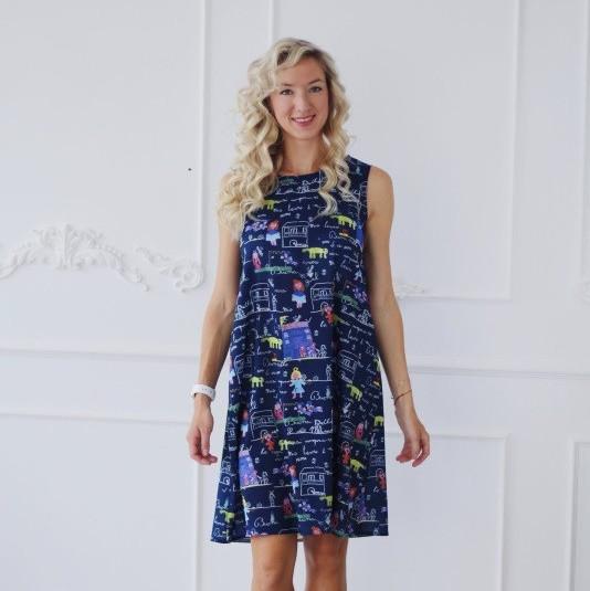 Платье летнее Мама для беременных и кормящих мам синее HIGH HEELS MOM, размер M/L