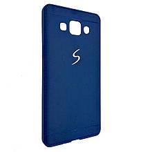 Чехол-накладка DK-Case силикон хром лого под кожу для SAMSUNG A500 (dark blue)