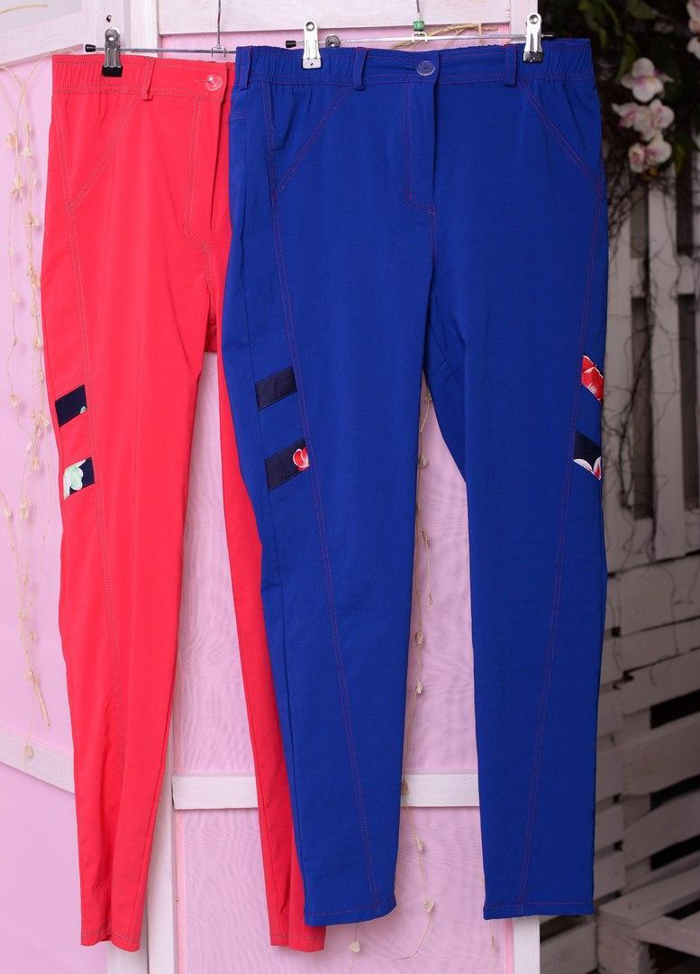 Летние молодёжные брюки со зрительной коррекцией фигуры батал с 48 по 82 размер
