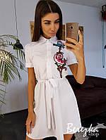 Платье - рубашка под пояс с вышивкой на груди 66033297Q