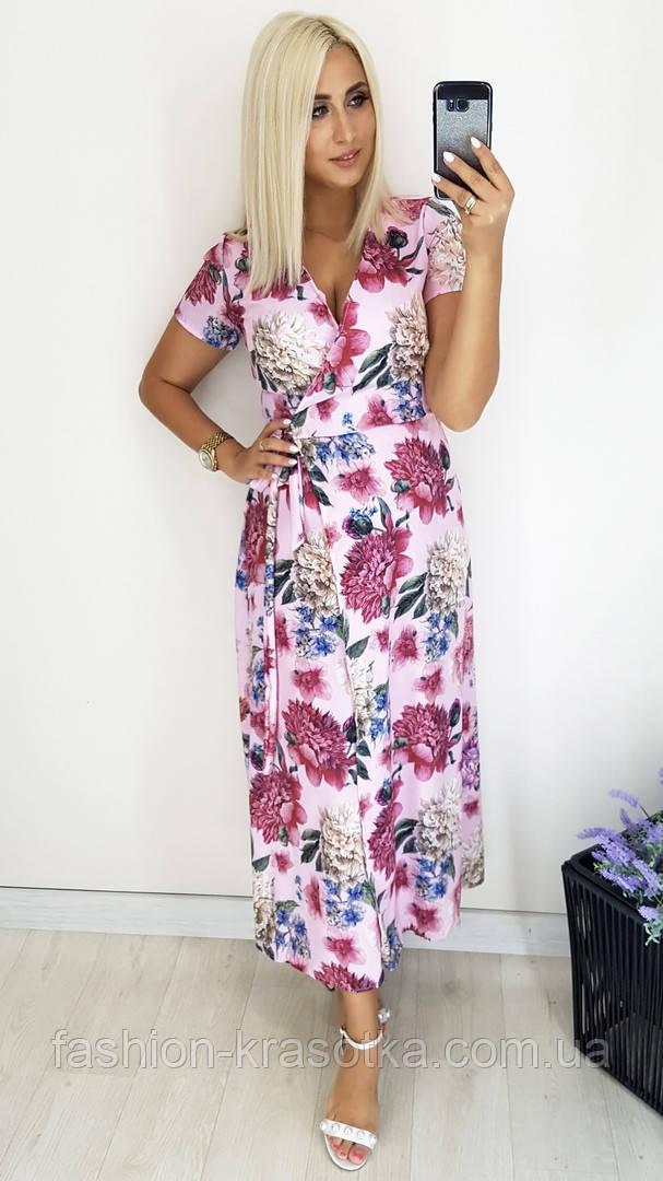 Модное женское летнее платье на запах,ткань батист,размеры:48,50,52,54.