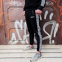 Мужские Спортивные штаны Adidas Three line черные Реплика