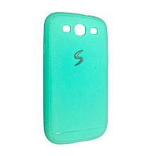 Чехол-накладка DK-Case силикон хром лого под кожу для SAMSUNG S3 (mint)