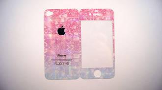 Защитное стекло for Apple iPhone 4/4S жемчужный ручей back/face blue/pink