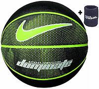 Мяч баскетбольный резиновый для улицы и зала Nike Dominate Volt размер 7, цвет - черный-салатовый