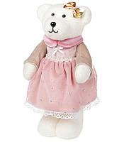 Декоративная фигура Мишка, 26см, цвет - розовый (6 шт в упаковке)