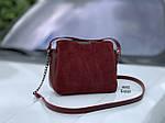 Небольшая бордовая замшевая женская сумочка через плечо сумка кросс-боди натуральная замша+экокожа