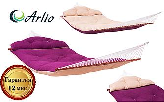 Гамак тканевый сиреневого или бежевого цвета Arlio MONACO. Семейный с планкой 3.4м х 1.4м