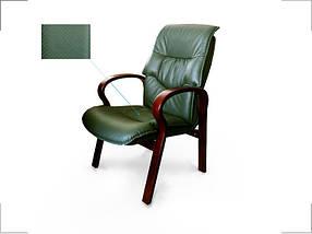 Кресло для конференций Монако комбинированная кожа люкс Зеленая (Диал ТМ)