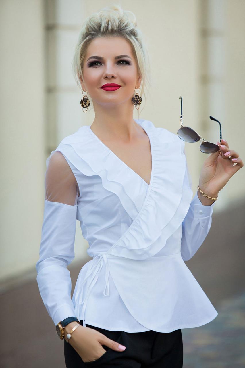 Белая Блузка с воланами