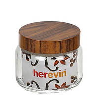 Банка для сыпучих Herevin Woody 425мл стекло (231357-000)