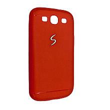 Чехол-накладка DK-Case силикон хром лого под кожу для SAMSUNG S3 (red)