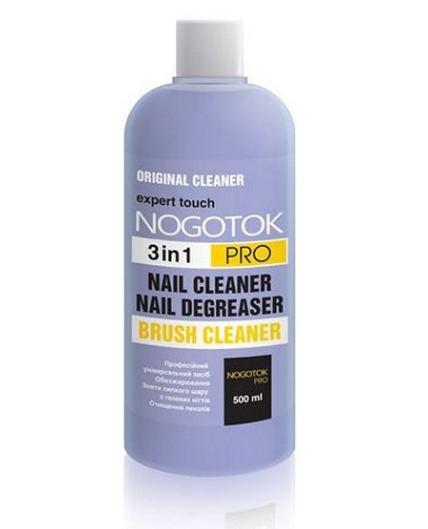 Средство 3в1 для обезжиривания, снятия липкого слоя и очистки кистей Nogotok Pro (500мл.)