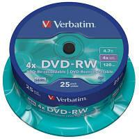 Диск DVD-RW Verbatim 4.7Gb 4x CakeBox 25 шт silver (43639)