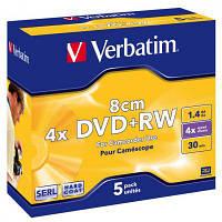 Диск DVD Verbatim mini 1.4Gb 4X Jewel 5шт Matt Silver (43565)