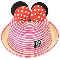 Шляпа детская оригинальная соломенная с бантом в стиле Микки Маус, фото 1