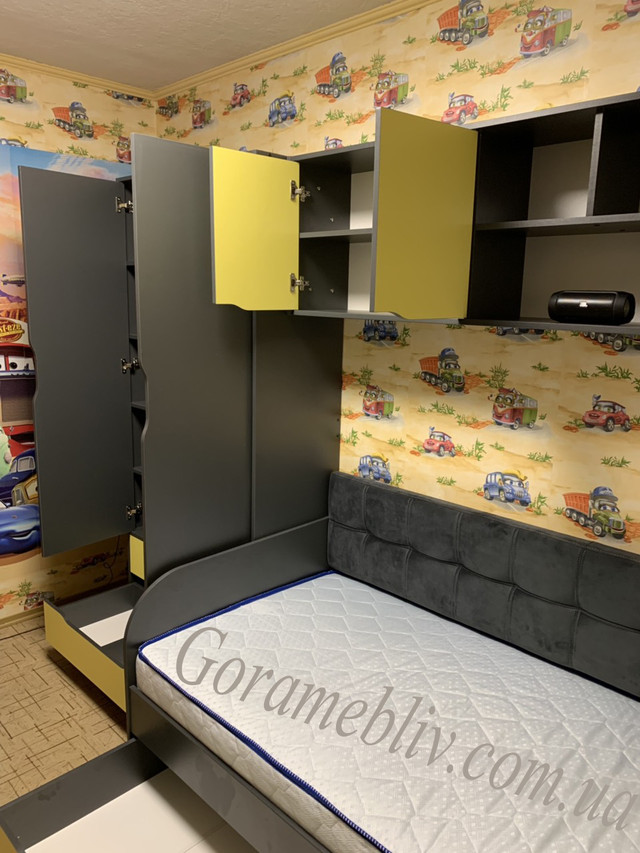 """На фото: детская комната """"Тетрис"""" с открытыми дверцами + кровать """"Л-7"""" (фото наших покупателей)"""