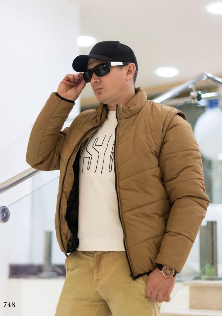 Куртка-жилетка трансформер мужская плащевка+150 силикон 48,50,52,54