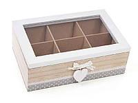"""473284. Коробка для чаю дерев'яна (6 відділень) зі скляною кришкою 493-700 ТМ"""""""""""