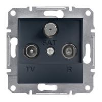 TV-R-SAT Розетка проходная. (4dB) ASFORA Schneider Electric Антрацит