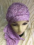 Бандана-шапка-косынка хлопковая с объёмной драпировкой цвет розовый, фото 3
