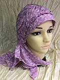 Бандана-шапка-косынка хлопковая с объёмной драпировкой цвет розовый, фото 4