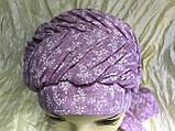 Бандана-шапка-косынка хлопковая с объёмной драпировкой цвет розовый, фото 6