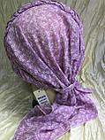 Бандана-шапка-косынка хлопковая с объёмной драпировкой цвет розовый, фото 5