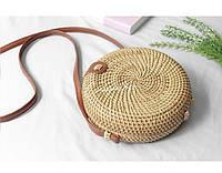 Круглая соломенная сумка Бали из ротанга на ремешке su1515