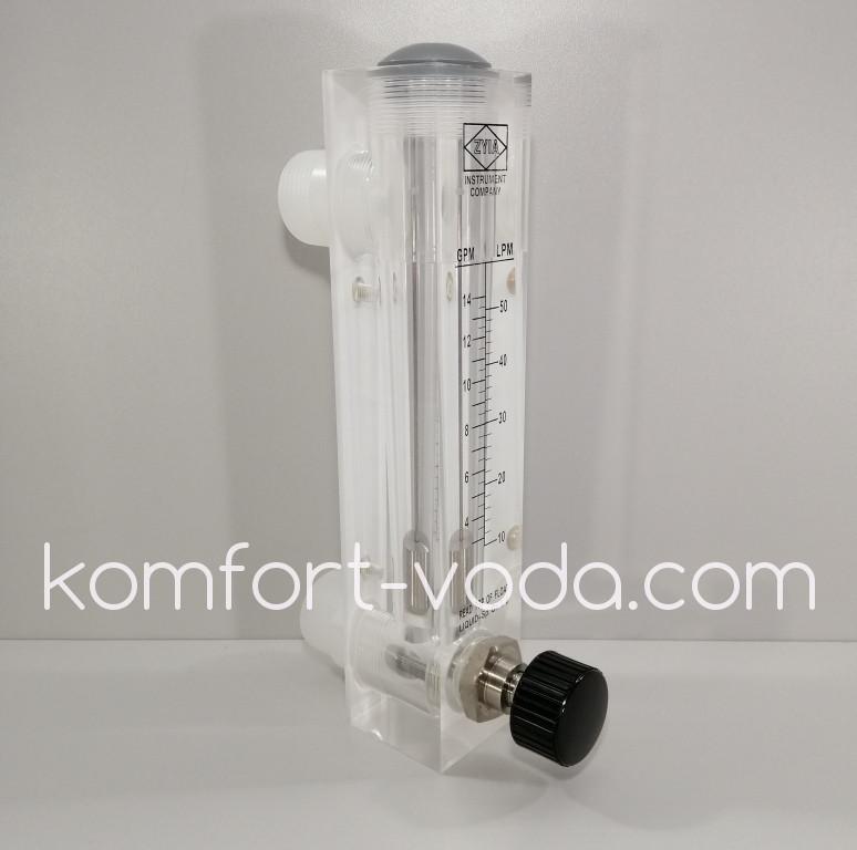 Ротаметр панельного типа LZM-25ZT (KT5), 10-50 л/мин (с регулятором потока)