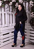 Оригинальные женские джинсы с аппликацией розы батал с 48 по 82 размер