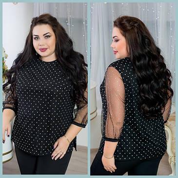 Изящная женская блуза   из роскошной сетки с мерцающими кристаллами с 48 по 98 размер, фото 2