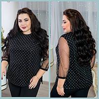 Нарядная женская блуза из роскошной сетки с мерцающими кристаллами с 48 по 98 размер
