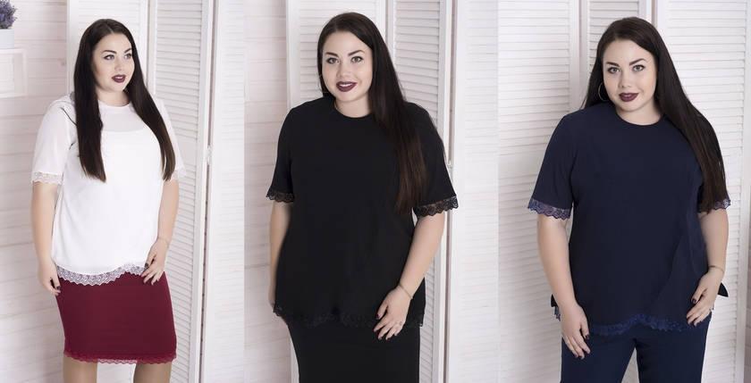 Нарядная женская блуза из креп-шифона с отделкой из кружева с 48 по 82 размер, фото 2