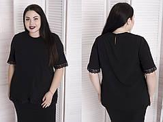 Нарядная женская блуза из креп-шифона с отделкой из кружева с 48 по 82 размер, фото 3