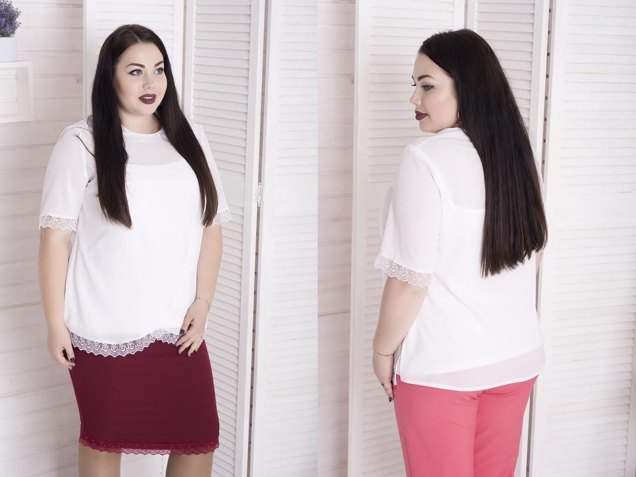Нарядная женская блуза из креп-шифона с отделкой из кружева с 48 по 82 размер