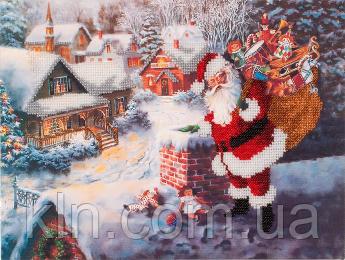 Набор для вышивания бисером FLF-085 Дед Мороз 20*30 Волшебная страна качественный