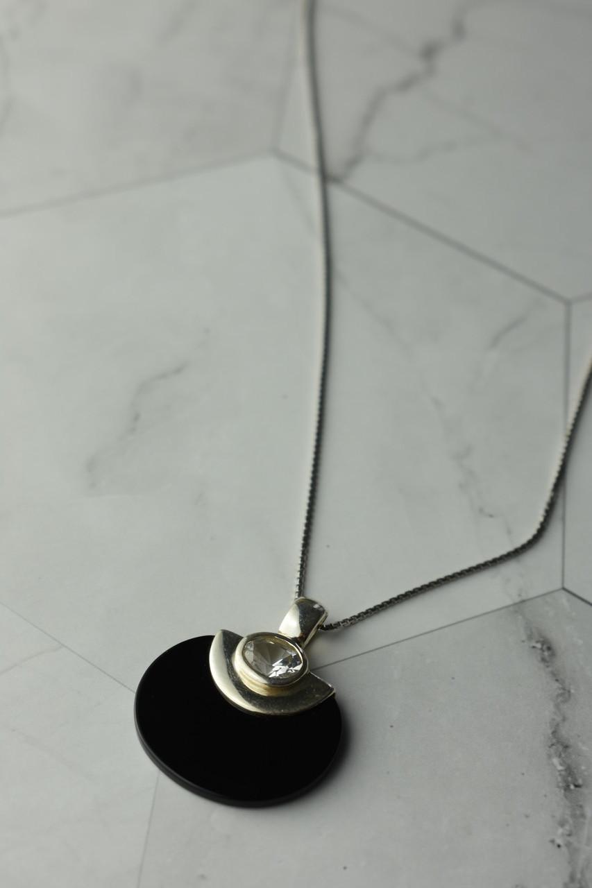 Серебряная цепочка с кулоном Черный Агат и Бесцветная Шпинель