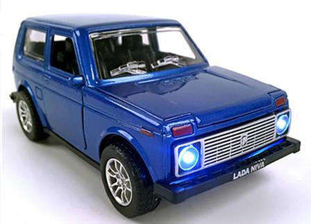 Масштабная модель автомобиля Лада Нива Точная копия 1:24, Ваз 2121. Синяя., фото 2