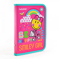 """Папка для тетрадей пластиковая на молнии В5 """"Smiley World""""(pink)"""