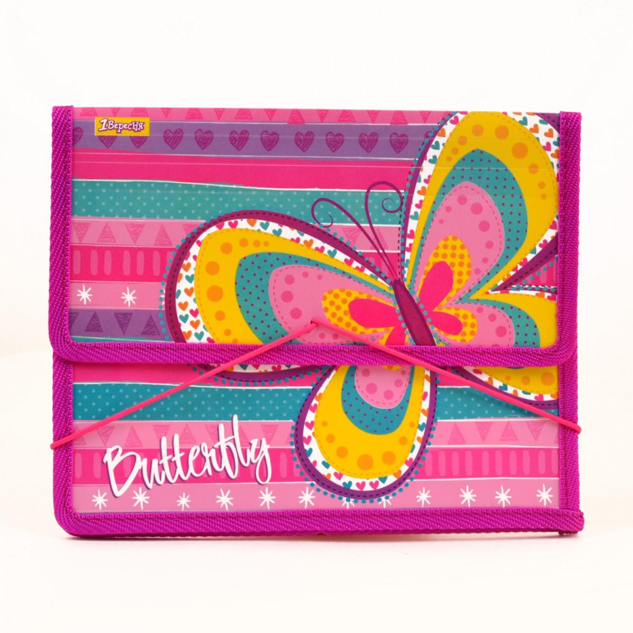 """Папка для тетрадей пластиковая на резинке В5 """"Bright butterfly"""""""