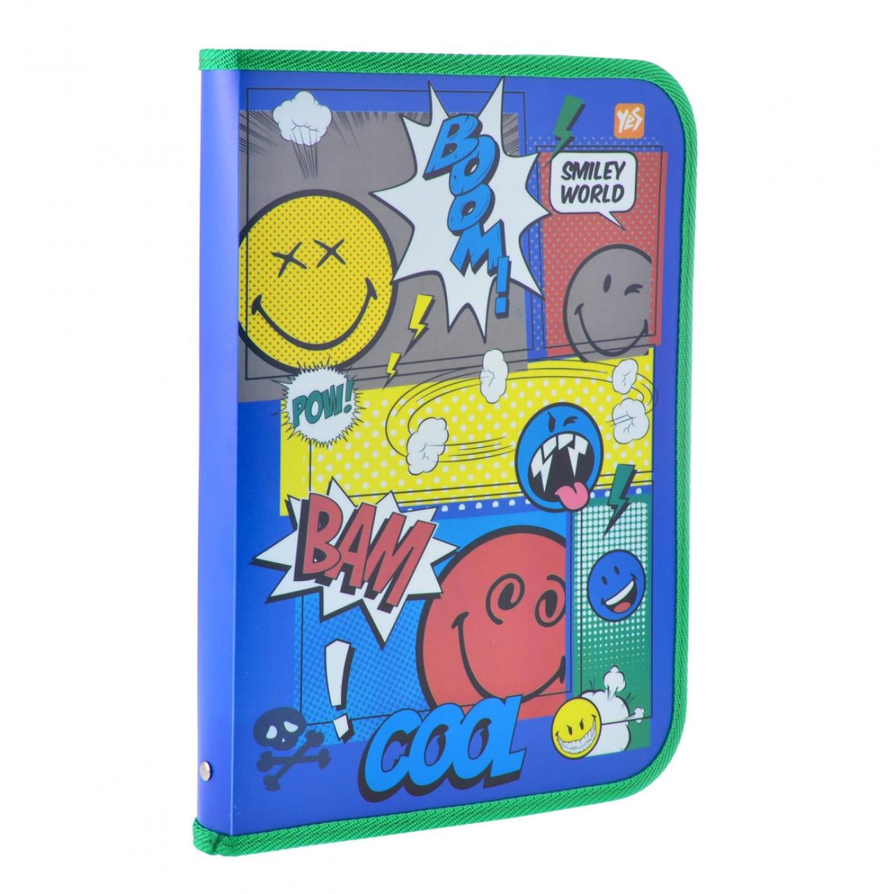 """Папка для труда пластиковая на молнии с внутр. карманом А4 """"Smiley World""""(blue)"""