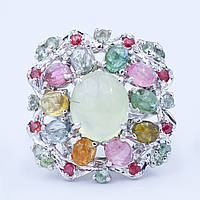 Кольцо серебряное с нефритом и турмалином
