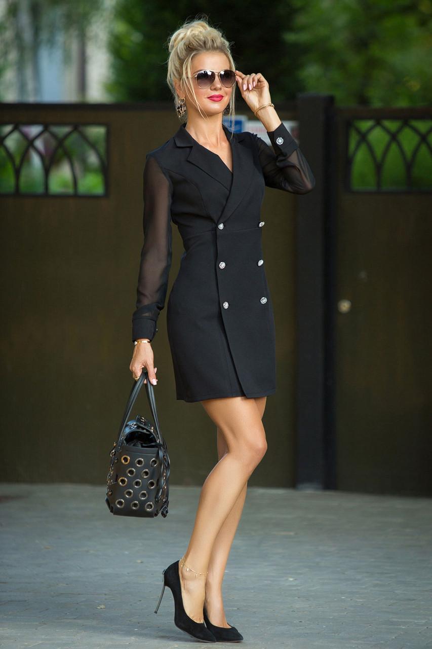 Черное двубортное Платье