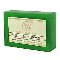 Мило Кхаді Нім - Тулсі Натуральне ручної роботи, Khadi Handmade Herbal Soap Neem Tulsi, Натуральное мыло ручной работы Ним - Тул
