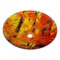 Умывальник оригинальный накладной стеклянный круглый 420 мм (HR 8513)