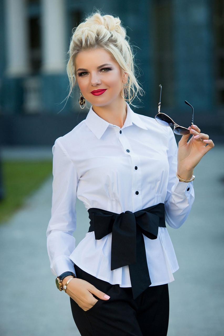 Белая Рубашка с черным поясом