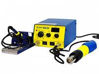 Паяльная установка с феном YaXun 881D, цифровая led-индикация температуры, многослойное жало у паяльника
